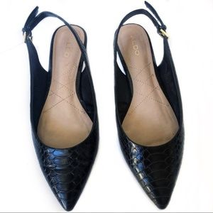 Aldo Black Pointy Buckle Faux Snake Skin Flats